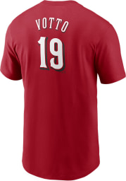Joey Votto Cincinnati Reds Red Name And Number Short Sleeve Player T Shirt