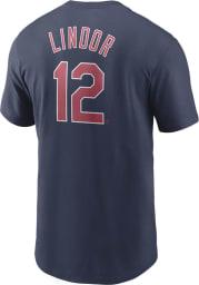 Francisco Lindor Cleveland Indians Navy Blue Name And Number Short Sleeve Player T Shirt