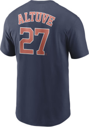 Jose Altuve Houston Astros Navy Blue Name And Number Short Sleeve Player T Shirt