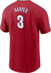 Bryce Harper Philadelphia Phillies Red Name And Number Short Sleeve Player T Shirt