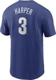 Bryce Harper Philadelphia Phillies Blue Name And Number Short Sleeve Player T Shirt