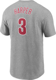 Bryce Harper Philadelphia Phillies Grey Name And Number Short Sleeve Player T Shirt