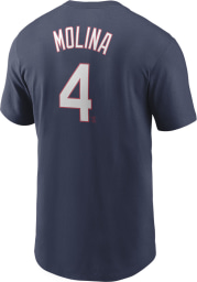 Yadier Molina St Louis Cardinals Navy Blue Name And Number Short Sleeve Player T Shirt