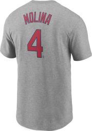 Yadier Molina St Louis Cardinals Grey Name Number Short Sleeve Player T Shirt