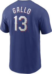 Joey Gallo Texas Rangers Blue Name And Number Short Sleeve Player T Shirt