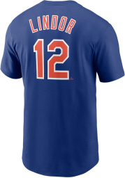 Francisco Lindor New York Mets Blue Name And Number Short Sleeve Player T Shirt