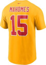 Patrick Mahomes Kansas City Chiefs Gold Name And Number Short Sleeve Player T Shirt
