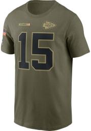 Patrick Mahomes Kansas City Chiefs Olive Salute To Service Short Sleeve Player T Shirt