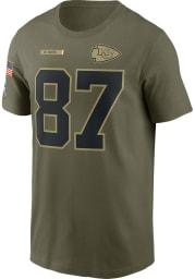 Travis Kelce Kansas City Chiefs Olive Salute To Service Short Sleeve Player T Shirt