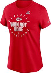 Nike Kansas City Chiefs Womens Red 2020 Division Champs Locker Room Short Sleeve T-Shirt
