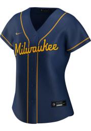 Milwaukee Brewers Womens Nike Replica Alternate Jersey - Navy Blue