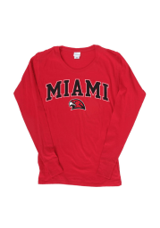 Miami of Ohio Juniors Red Cotton Jersey Long Sleeve Scoop Neck