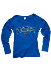 Kentucky Juniors Blue Cotton Jersey Long Sleeve Scoop Neck