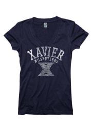 Xavier Musketeers Juniors Navy Blue Ageless V-Neck T-Shirt