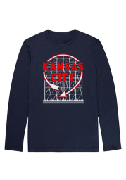 Bozz Prints Kansas City Navy Blue Western Auto Sign Long Sleeve T Shirt