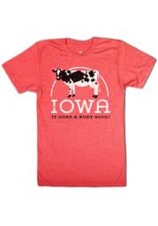 Bozz Prints Iowa Red Does A Body Good Short Sleeve Fashion T Shirt