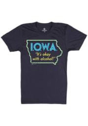 Bozz Prints Iowa Navy Blue Its Okay With Alcohol Short Sleeve Fashion T Shirt