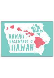 Iowa Hawaii Backward Postcard