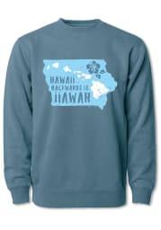 Bozz Prints Iowa Mens Navy Blue Hawaii Backwards Long Sleeve Crew Sweatshirt