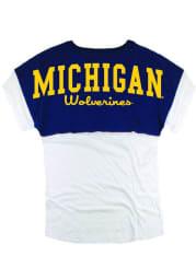 Michigan Wolverines Womens Navy Blue Pom Pom Short Sleeve T-Shirt