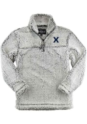 Xavier Musketeers Womens Grey Sherpa 1/4 Zip Pullover