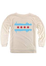 Chicago Womens Oatmeal Skyline Flag Cozy Long Sleeve Crew Sweatshirt