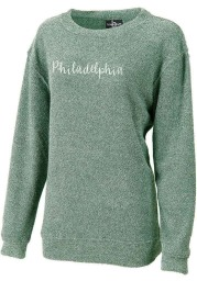 Philadelphia Womens Green Script Long Sleeve Crew Sweatshirt