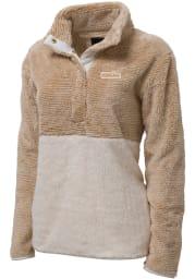 Cleveland Womens Brown Rectangle Wordmark 1/4 Zip Pullover