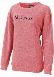 St Louis Womens Red Script Wordmark Long Sleeve Crew Sweatshirt