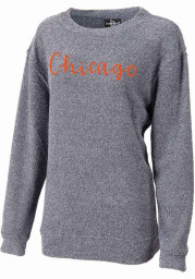 Chicago Women's Navy Script Wordmark Long Sleeve Cozy Crew Sweatshirt