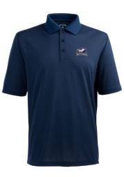 Antigua La Salle Explorers Mens Navy Blue Pique Extra Lite Short Sleeve Polo