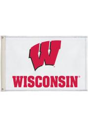 Wisconsin Badgers 2x3 White Silk Screen Grommet Flag