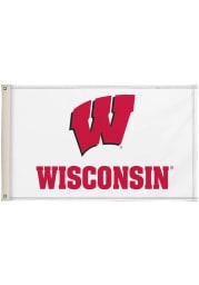 Wisconsin Badgers 3x5 White Silk Screen Grommet Flag