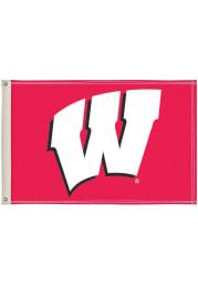 Wisconsin Badgers 2x3 Red Silk Screen Grommet Flag