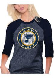 St Louis Blues Womens Navy Blue Raglan Long Sleeve Crew T-Shirt