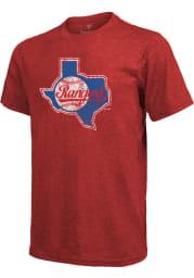 Texas Rangers Red Retro State Outline Short Sleeve Fashion T Shirt