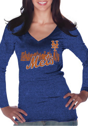 New York Mets Womens Blue Skyline Long Sleeve T-Shirt