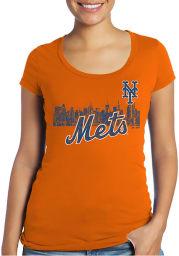 New York Mets Womens Orange Skyline Scoop T-Shirt