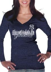 New York Yankees Womens Navy Blue Skyline Long Sleeve T-Shirt