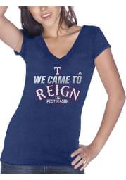Texas Rangers Womens Blue AC Postseason V-Neck T-Shirt