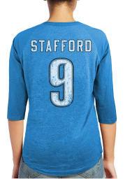 Matthew Stafford Detroit Lions Womens Blue Tri-Blend Raglan Long Sleeve Player T Shirt