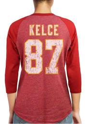 Travis Kelce Kansas City Chiefs Womens Red Tri-Blend Raglan Long Sleeve Player T Shirt