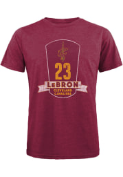 LeBron James Cleveland Cavaliers Maroon Plaque Short Sleeve Fashion Player T Shirt
