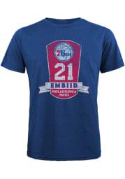 Joel Embiid Philadelphia 76ers Blue Plaque Short Sleeve Fashion Player T Shirt