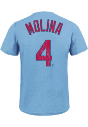 Yadier Molina St Louis Cardinals Light Blue Name And Number Short Sleeve Fashion Player T Shirt