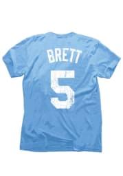 George Brett 5 Kansas City Royals Light Blue Distressed Screenprint Fashion Player Tee