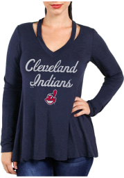 Cleveland Indians Womens Navy Blue Swing LS Tee
