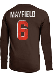 Baker Mayfield Cleveland Browns Brown Primary Name And Number Long Sleeve Player T Shirt