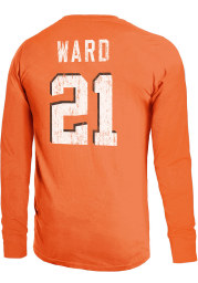 Denzel Ward Cleveland Browns Orange Primary Name And Number Long Sleeve Player T Shirt