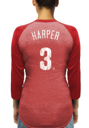 Bryce Harper Philadelphia Phillies Womens Red Name and Number Racerback Long Sleeve Player T Shirt